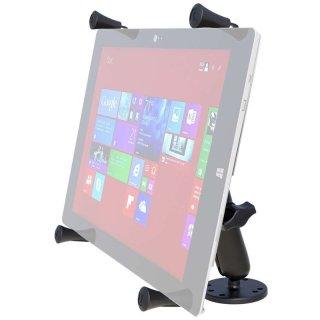 RAM Mounts Aufbauhalterung mit X-Grip Universal Halteklammer für 12 Zoll Tablets - runde Basisplatte (AMPS), langer Verbindungsarm, B-Kugel (1 Zoll), im Polybeutel