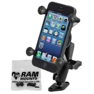 RAM Mounts Aufbauhalterung mit X-Grip Universal Halteklammer für Smartphones - Diamond-Basisplatte (Trapez), mittlerer Verbindungsarm, B-Kugel (1 Zoll), Schrauben-Set, im Polybeutel