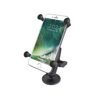 RAM Mounts Aufbau-Halterung mit X-Grip Universal Halteklammer für große Smartphones (Phablets) - runde Basisplatte (AMPS), mittlerer Verbindungsarm, B-Kugel (1 Zoll)