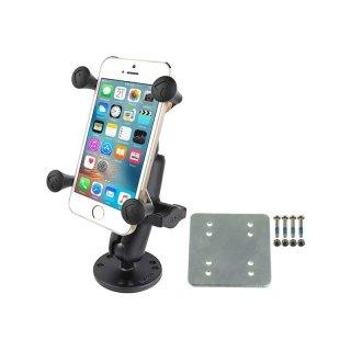 RAM Mounts Wandhalterung mit X-Grip Universal Halteklammer für Smartphones - runde Basisplatte (AMPS), mittlerer Verbindungsarm, Gegenplatte, B-Kugel (1 Zoll), Schrauben-Set, im Polybeutel