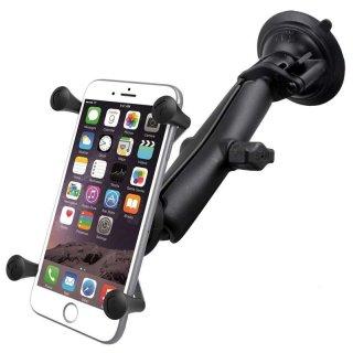 RAM Mounts Saugfusshalterung mit X-Grip Universal Halteklammer für große Smartphones (Phablets) - Saugfuss-Basis, langer Verbindungsarm, B-Kugel (1 Zoll), im Polybeutel