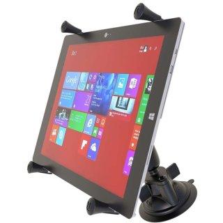 RAM Mounts Saugfusshalterung mit X-Grip Universal Halteklammer für 12 Zoll Tablets - mittlerer Verbindungsarm, B-Kugel (1 Zoll), im Polybeutel