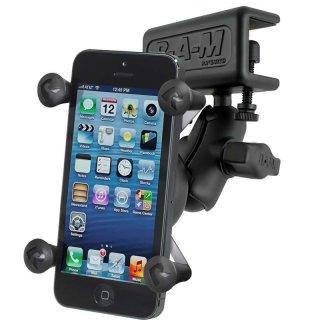 RAM Mounts Panelhalterung mit X-Grip Universal Halteklammer für Smartphones - Panelklammer, kurzer Verbindungsarm, B-Kugel (1 Zoll), im Polybeutel