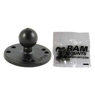 RAM Mounts Basisplatte rund (AMPS) - Schrauben-Set (Garmin), B-Kugel (1 Zoll), im Polybeutel