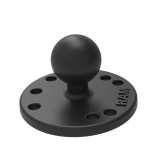 RAM Mounts Basisplatte rund - B-Kugel (2,54 cm/1 Zoll), Platten-Durchmesser 63,5 mm, AMPS-Lochraster