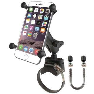 RAM Mounts Halterung für Stangen/Rohre mit X-Grip Universal Halteklammer für große Smartphones (Phablets) - Klemmschelle, mittlerer Verbindungsarm, B-Kugel (1 Zoll)