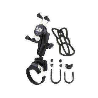RAM Mounts Halterung für Stangen/Rohre mit X-Grip Universal Halteklammer für Smartphones - Klemmschelle, mittlerer Verbindungsarm, B-Kugel (1 Zoll), im Polybeutel