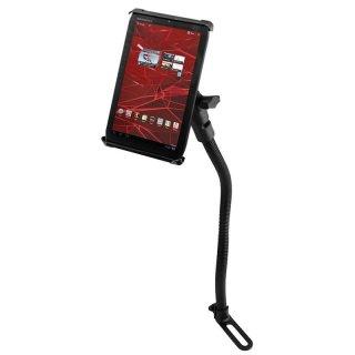 RAM Mounts Pod I Sitzschienen-Adapter mit Universal Tab-Tite Halteschale (7 Zoll Tablets) - flexibler Stab (ca. 450 mm), runde Basisplatte (AMPS), B-Kugel (1 Zoll)