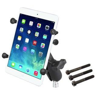 RAM Mounts Motorradhalterung mit X-Grip Universal Halteklammer für 7 Zoll Tablets - Kugel für Lenkerkopf, mittlerer Verbindungsarm, B-Kugel (1 Zoll), im Polybeutel