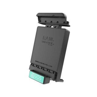 RAM Mounts Universal Tab-Tite Halteschale (abschließbar) mit GDS-Ladesockel - für Samsung Galaxy Tab 4 (7.0) in IntelliSkin-Lade-/Schutzhülle, inkl. Stromanbindung, im Polybeutel