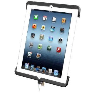 RAM Mounts Universal Tab-Lock Halteschale (abschließbar) für Apple iPad 4 mit Lightning-Connector (ohne Schutzgehäuse/-hüllen) - AMPS-Aufnahme, Schrauben-Set, im Polybeutel