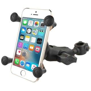RAM Mounts Rohrhalterung mit X-Grip Universal Halteklammer für Smartphones - Rohrbasis mit Feststellschrauben, mittlerer Verbindungsarm, B-Kugel (1 Zoll), im Polybeutel