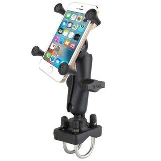 RAM Mounts Halterung für Lenker/Rohre mit X-Grip Universal Halteklammer für Smartphones - Doppel-Klemmschelle, mittlerer Verbindungsarm, B-Kugel (1 Zoll), im Polybeutel