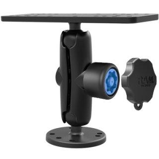 RAM Mounts Aufbau-Set mit Pin-Lock Sicherung - runde Basisplatte (AMPS), mittlerer Verbindungsarm mit Pin-Lock Sicherung, Pin-Lock Adapter, Adapterplatte (mit Universal-Lochraster), B-Kugel (1 Zoll)