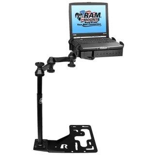 RAM Mounts Universal Laptop-Halterung für LKWs - Fahrzeug-Basis, Doppel-Schwenkarm, Tough-Tray Halteschale