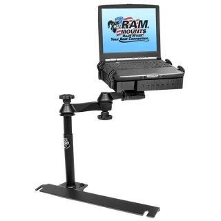 RAM Mounts Laptop-Halterung für Fahrzeuge - Fahrzeug-Basis, Doppel-Schwenkarm, Tough-Tray Halteschale, Ford Transit Full Size Van