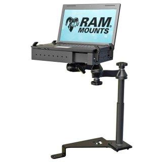 RAM Mounts Laptop-Halterung für Fahrzeuge - Fahrzeug-Basis, Doppel-Schwenkarm, Tough-Tray Halteschale, Ford F-150 (2015-2018)/F-250/F-350/F-4507F-550