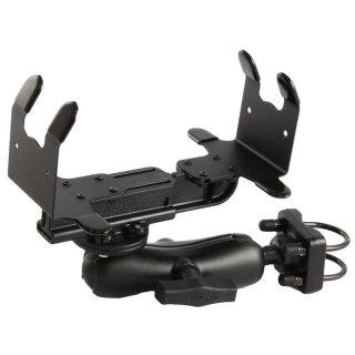 RAM Mounts Drucker-Rohrhalterung für portable Drucker - Doppel-Klemmschelle, mittlerer Verbindungsarm, runde Basisplatte (AMPS), C-Kugel (1,5 Zoll)