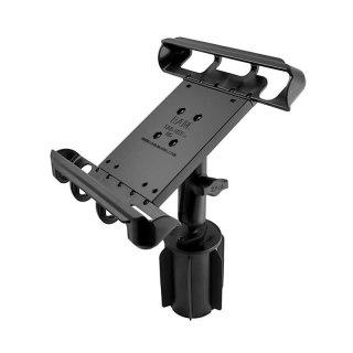 RAM Mounts RAM-A-CAN II Universal-Halterung für Tablets (10 Zoll) - für Fahrzeug-Getränkehalter, Basis mit Gummilippen, mittlerer Verbindungsarm, Halteschale, B-Kugel (1 Zoll), im Polybeutel