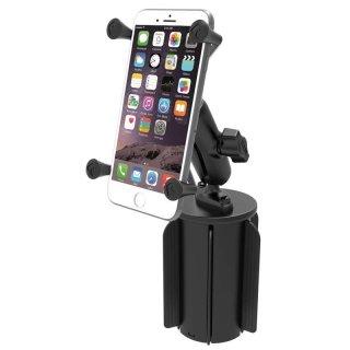 RAM Mounts Fahrzeughalterung mit X-Grip Universal Halteklammer für große Smartphones (Phablets) - Basis für Getränkehalter, B-Kugel (1 Zoll), im Polybeutel