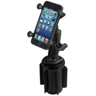 RAM Mounts Fahrzeughalterung mit X-Grip Universal Halteklammer für Smartphones - Basis für Getränkehalter, B-Kugel (1 Zoll), im Polybeutel
