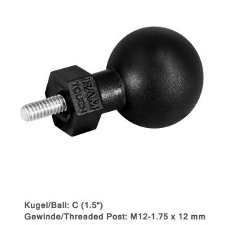 RAM Mounts Tough-Ball mit M12-1,75 x 12 mm Gewindestift -...