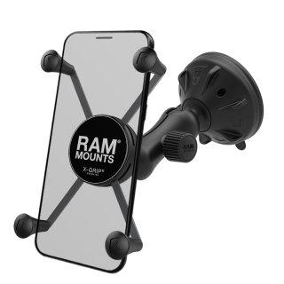 RAM Mounts X-Grip Saugfuss-Halterung für große Smartphones (Phablets) - kurzer Verbindungsarm (ca. 50 mm), X-Grip Halteklammer, Gummi-Tether, B-Kugel (1 Zoll), im Polybeutel