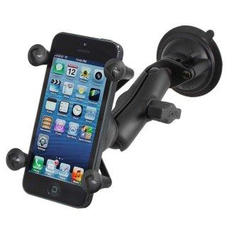 RAM Mounts Saugfusshalterung mit X-Grip Universal Halteklammer für Smartphones - mittlerer Verbindungsarm, B-Kugel (1 Zoll), im Polybeutel